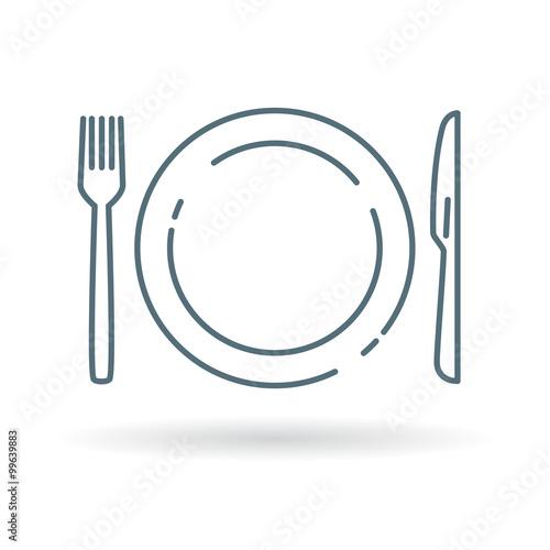 Obraz na plátně Plate, knife and fork icon