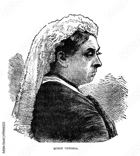Obraz na plátně Vintage Woodcut Artwork Queen Victoria