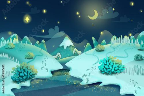 Illustration: Snow Night. Realistic Fantastic Cartoon Style Artwork Scene, Wallpaper, Game Story Background, Card Design
