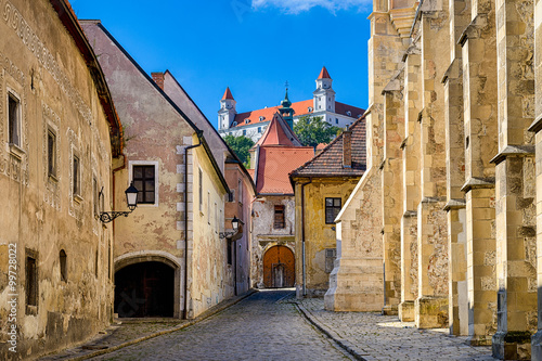 Wallpaper Mural Old town and castle of Bratislava, Slovakia