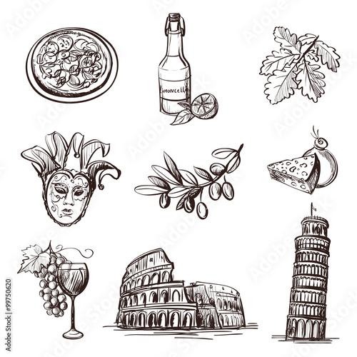 Fotografia Hand drawn set of Italy