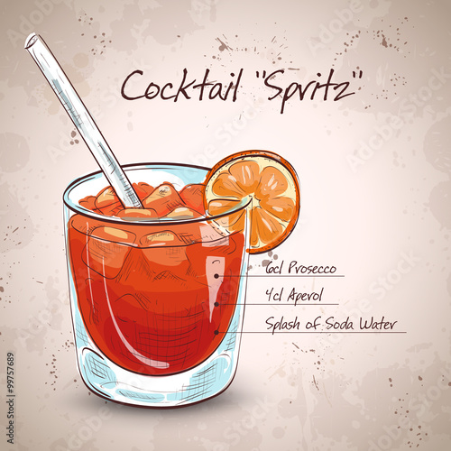Photo glass of spritz aperitif aperol cocktail