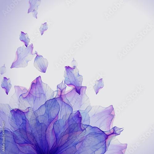 Naklejka premium Akwareli karta z Purpurowym kwiatu płatkiem