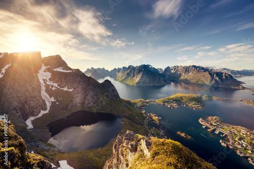 Canvas Print Norway Lofoten Reine from above