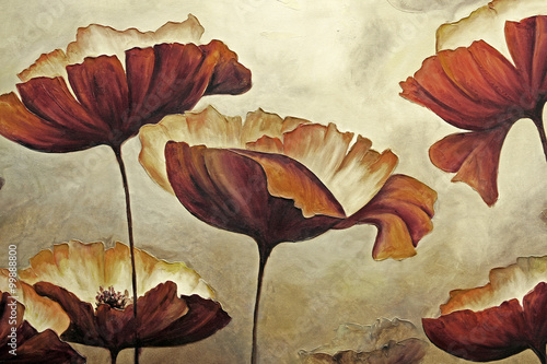 Painting poppies with texture