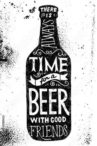 Beer bottle with type design Poster Mural XXL