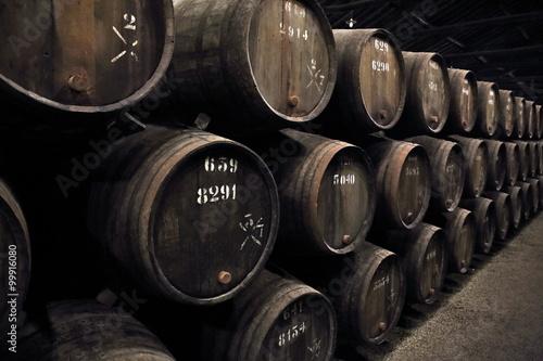 Fototapeta wooden wine barrels