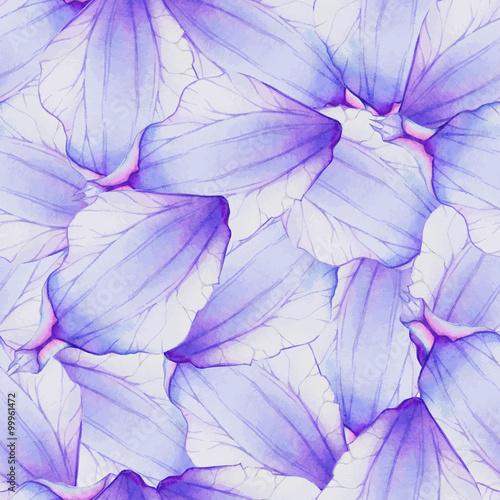 Watercolor Seamless pattern with Purple flower petal
