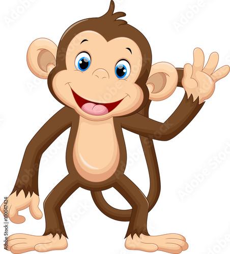 Fototapeta premium Śliczna małpa macha