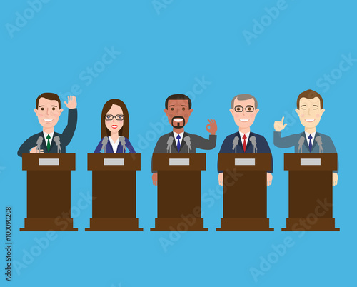 Canvas Print politician at the podium.international press conference concept