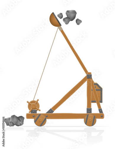 Canvas Print old wooden catapult shooting stones vector illustration