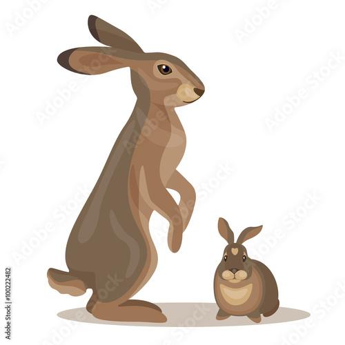 Obraz na plátne Hare with little leveret.