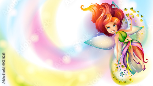 Cute colorful fairy character on a bright background