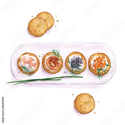 Obraz na plátne Watercolor Food Painting - Seafood snacks