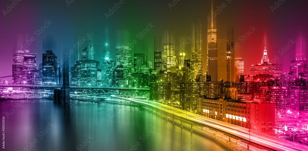 Fantastic Colorful New York City night scene