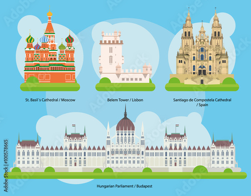 Canvas Print Vector illustration of Monuments and landmarks in Europe Set 2: St Basils Cathedral (Moscow), Belem Tower (Lisbon), Santiago de Compostela Cathedral (Spain) and Hungarian Parliament (Budapest)