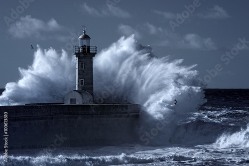 Canvas Print Infrared stormy lighthouse