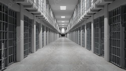 Photo Rows of prison cells, prison interior.