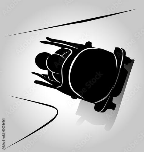 Tableau sur Toile Vector silhouette bobsleigh