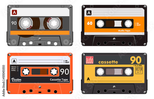 Fototapeta Collection of four plastic audio cassettes tape