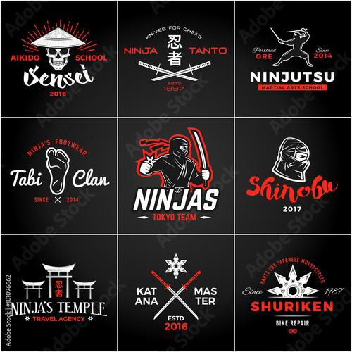 Fototapeta Set of Japan Ninjas Logo