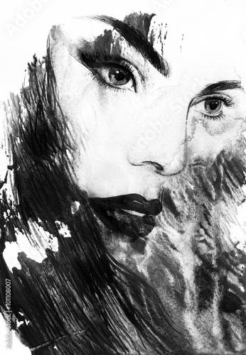 Beautiful woman face. Abstract fashion watercolor illustration