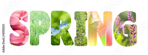 Słowo Wiosna z kolorowymi obrazami natury wewnątrz liter,