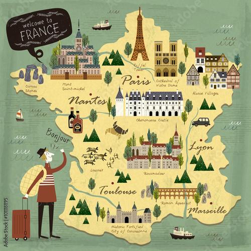 Obraz na płótnie France travel concept map