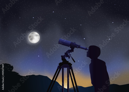 Paysage Astronomie Enfant Fototapet
