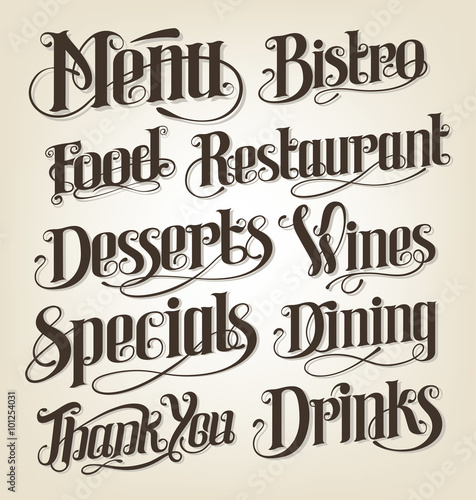 Canvas-taulu Hand drawn lettering for restaurant menu boards