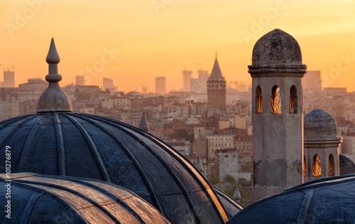 Canvas Print Beyoglu and Galata tower at sunrise, Istanbul, Turkey