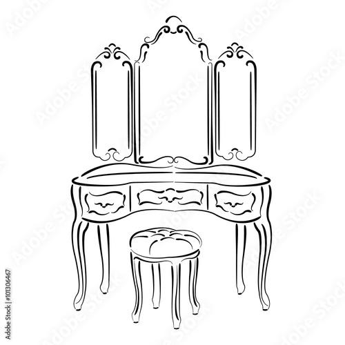 Carta da parati Sketched retro dressing table