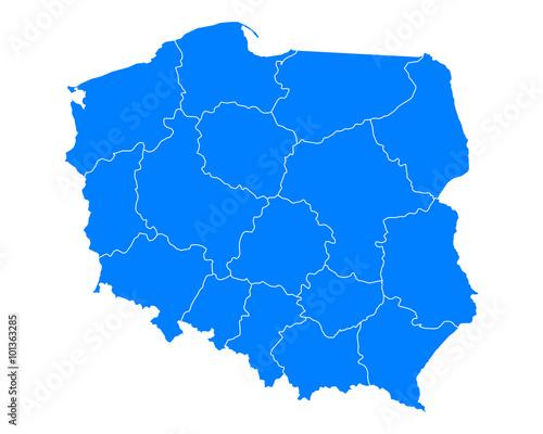 Karte von Polen Fotobehang