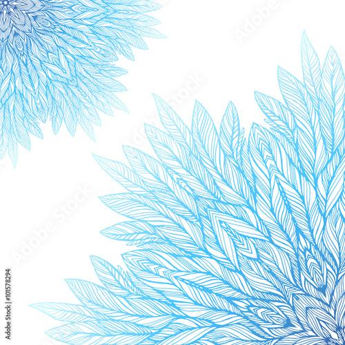 Fototapeta two blue mandala, a circular pattern on a white background, vector illustration
