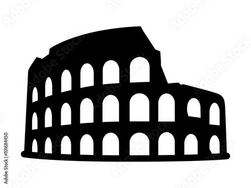 Billede på lærred Colosseum / Coliseum in Rome, Italy flat icon for travel apps and websites