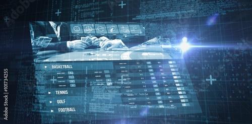 Slika na platnu Composite image of blue matrix and codes