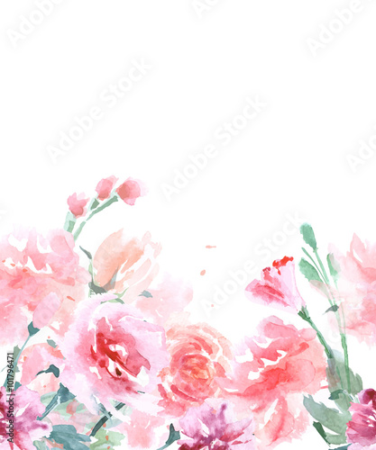Floral Seamless Watercolor Border with Roses, in Vintage Style, Watercolor Vector Illustration.