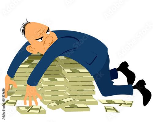 Fototapeta Greedy businessman with a bunch of money
