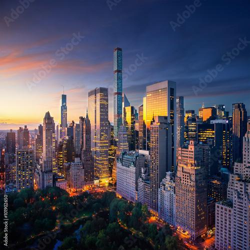 New York City Manhattan at sunrise Fotobehang