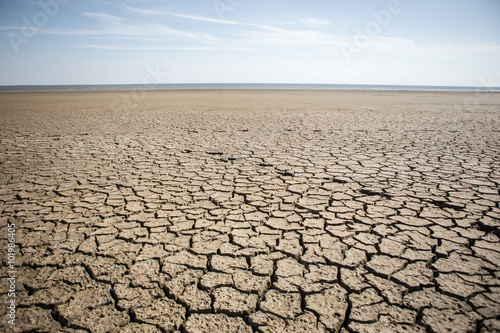 Photo Dry cracked ground. The problem of drought
