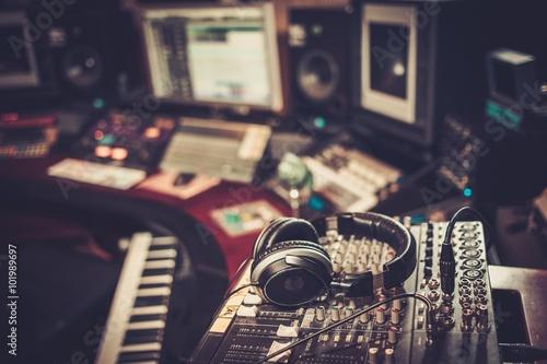 Cuadros en Lienzo Close-up of boutique recording studio control desk.