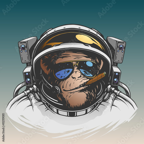 Fototapeta premium Monkey astronaut illustration