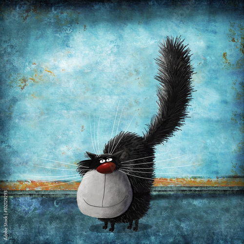 Stampa su Tela Fluffy Cat On Background Painted Old Wall