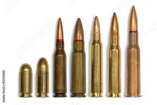 Stampa su Tela ammo for machine guns and pistols on the white background