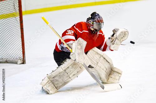 Fotomural Portero hockey en el equipo rojo genérico protege la puerta