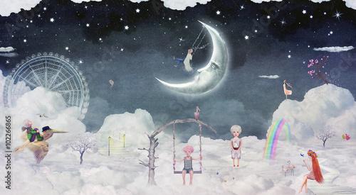 Obraz na płótnie Miasto dzieci na fantastycznych chmurach na niebie