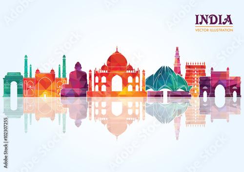 India skyline detailed silhouette. Vector illustration