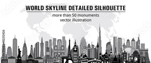 Valokuva World monuments detailed skylines. vector illustration