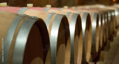 Canvas Print wooden barrels