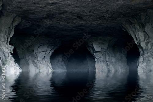 Fotografia underground river in a dark stone cave